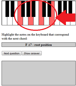 highlight chord on keyboard