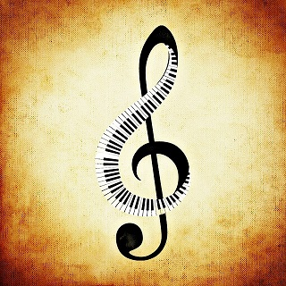 treble clef with piano keyboard